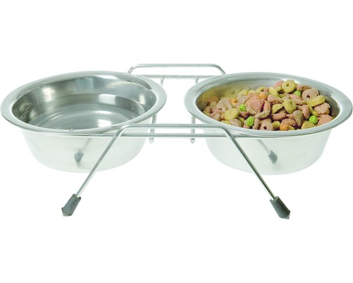 Ställning KARLIE för två matskålar inkl. 2 skålar 350ml