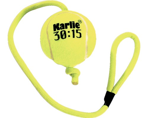 Hundleksak KARLIE tennisboll med rep 6cm gul