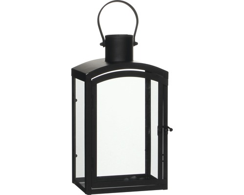 Lykta metall glas 17,5x11,5x30cm svart