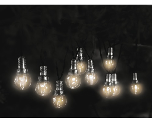Ljusslinga LAFIORA LED glödlampa klar solcellsdriven 10 lampor inkl. ljussensor och batteri