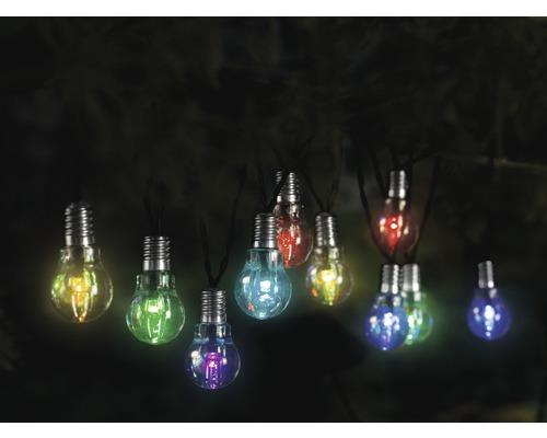 Ljusslinga LAFIORA LED glödlampa flerfärgad solcellsdriven 10 lampor inkl. ljussensor och batteri