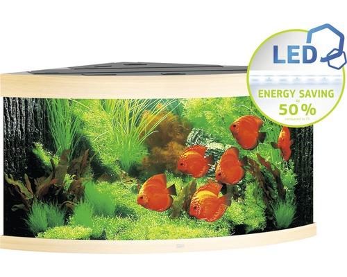 Hörnakvarium JUWEL Trigon 350 LED ljust trä