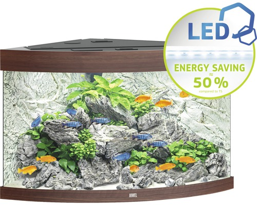 Hörnakvarium JUWEL Trigon 190 LED mörkt trä