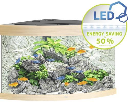 Hörnakvarium JUWEL Trigon 190 LED ljust trä