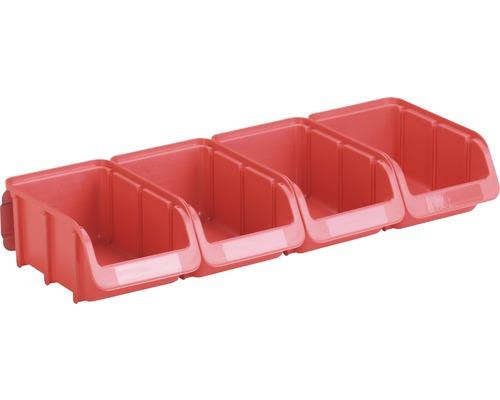 HÜNERSDORFF Öppna förvaringsboxar storlek 2 med metallskena 4 st