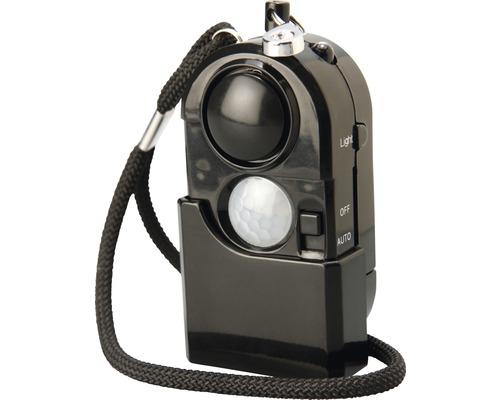 Överfallsalarm med rörelsesensor och minificklampa svart