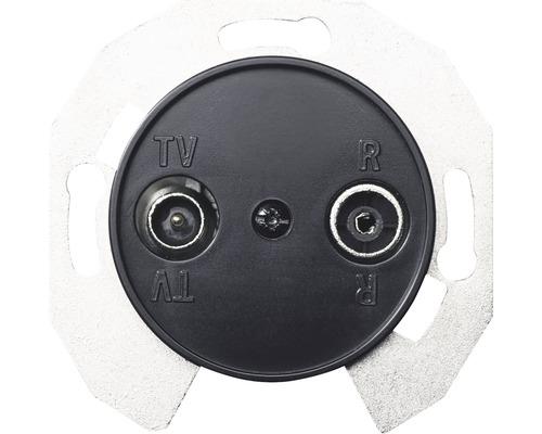 Fördelningsuttag SCHNEIDER Renova S6 för FM och TV komplett med centrumplatta svart 6000415