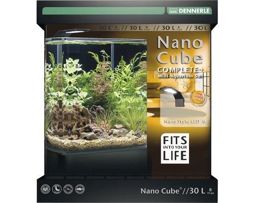 Akvarium DENNERLE Nano Cube Complete+ 30L - Style LED M med LED-belysning, bottengrund, filter, bakgrund, termometer