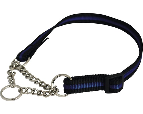 Halsband halvstryp kanal justerbart 1,8x40-60cm svart/blå