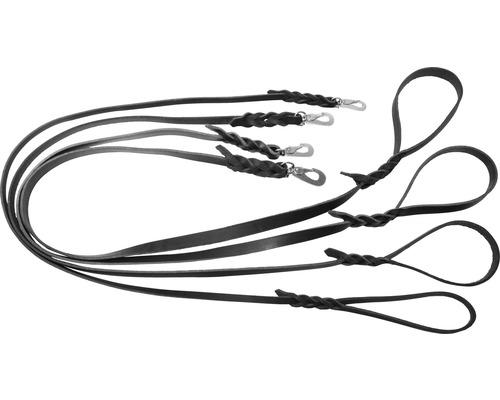 Koppel läder 0,6x180cm svart