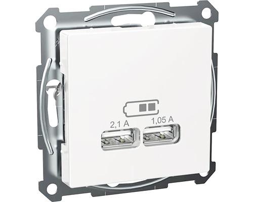 USB 2.0 ladduttag SCHNEIDER Exxact 5V 2 utgångar max 2,1 A eller 2x1,05A vit 5200138