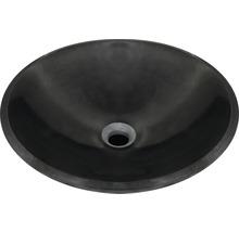 Bänktvättställ polerad natursten svart Ø42cm