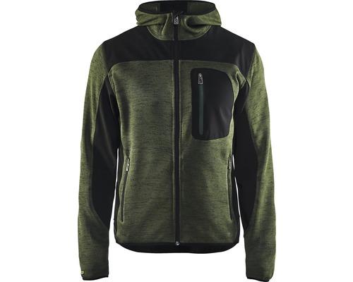 Jacka BLÅKLÄDER stickad armégrön/svartXXXL