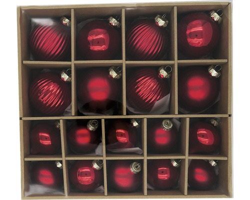 Julgranskulor LAFIORA glas röd 18st