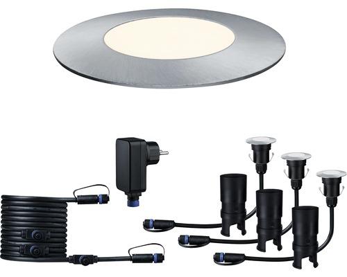 Golvspot PAULMANN Floor Mini startset Plug & Shine 3x2,5W 3x95lm 3000K Ø 55/40mm IP65 230/24V silver 3 styck