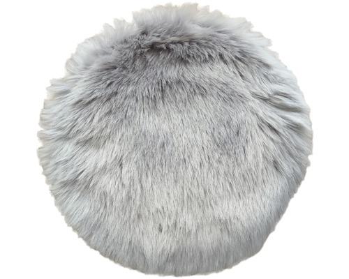 Stolsdyna fäll syntet rund grå 35cm