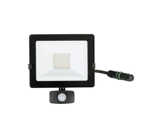 Strålkastare LED med sensor IP54 30W 2400lm 4000K neutralvitt höjd 222mm svart