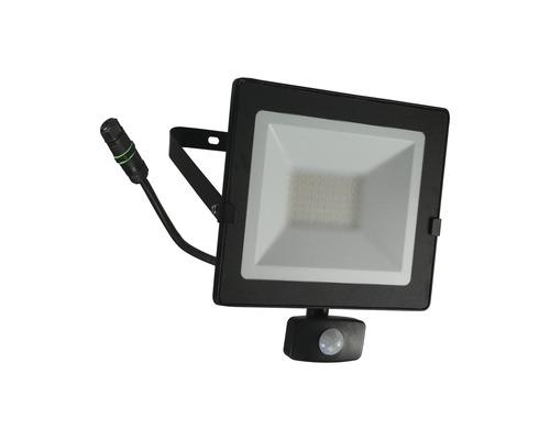 Strålkastare LED med sensor IP54 50W 4000lm 4000K neutralvitt höjd 250mm svart