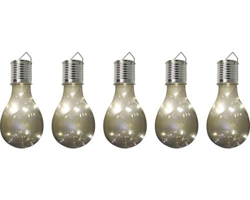 Ljusslinga LAFIORA solcell LED glödlampa klar 14cm varmvit 5st