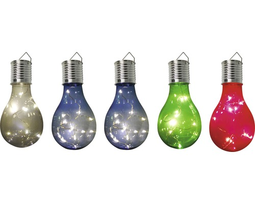 Ljusslinga LAFIORA solcell LED glödlampa flerfärgad 15 cm varmvit 5st
