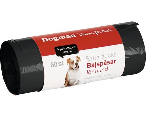 Hundbajspåse med knythandtag 60-pack svart