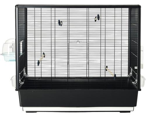 Fågelbur SAVIC Primo 60 Knock Down inkl. matskål, fågelbad, vattenautomat, sittpinnar 80x50x70cm svart