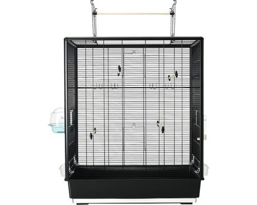 Fågelbur SAVIC Primo 60 Open Empire inkl. matskål, vattenautomat, fågelbad, sittpinnar 80x50x115cm svart