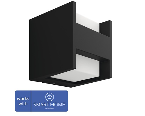 Vägglykta PHILIPS Hue Fuzo White & Color Ambiance 15W 1150lm 2700K varmvit H 130mm svart - kompatibel med SMART HOME by hornbach