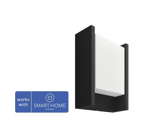 Vägglykta Philips Hue Fuzo White Ambiance 15W 1150lm 2700K varmvit H 221mm svart - kompatibel med SMART HOME by hornbach