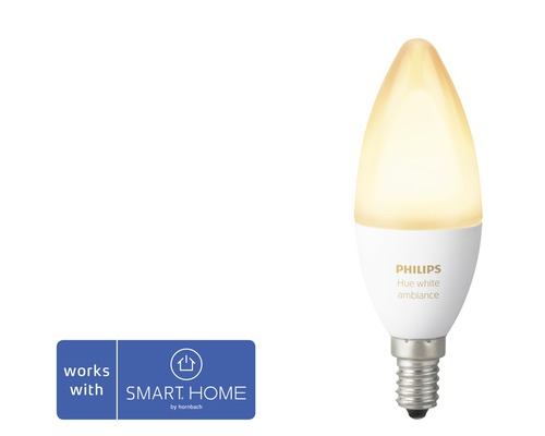 Kronlampa PHILIPS Hue White Ambiance E14 6W 470lm 2200-6500K dimbar - kompatibel med SMART HOME by hornbach