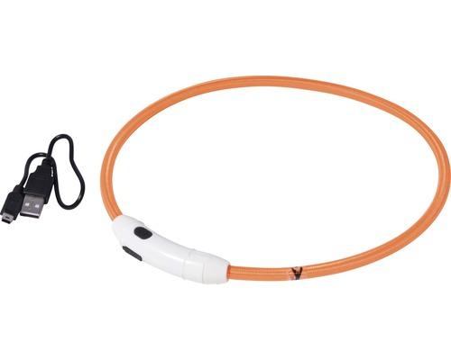 Halsband DOBAR LED-nylonslinga 8mm 34-64cm orange