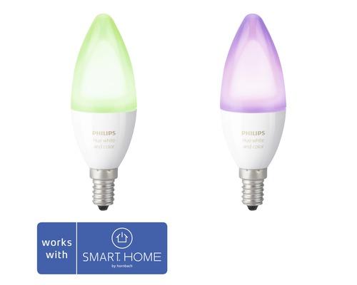 Kronlampa PHILIPS Hue White & Color Ambiance E14/6,5W B39 470lm 2200-6500K varmvit-dagsljusvit dimbar 2 pack - kompatibel med SMART HOME by hornbach