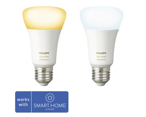 Ljuskälla PHILIPS Hue LED White Ambiance E27 9,5W 806lm 2200-6500K dimbar 2-pack - kompatibel med SMART HOME by hornbach