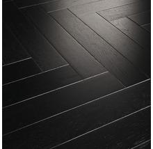 Parkettgolv PARADOR Trendtime 3 G5 fiskbensmönstrad svart mattlackad ek