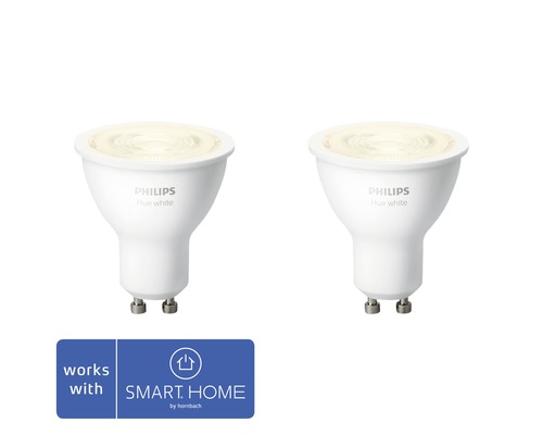 Ljuskälla PHILIPS Hue LED White GU10 5,2W 400lm 2700K MR16 dimbar 2-pack - kompatibel med SMART HOME by hornbach