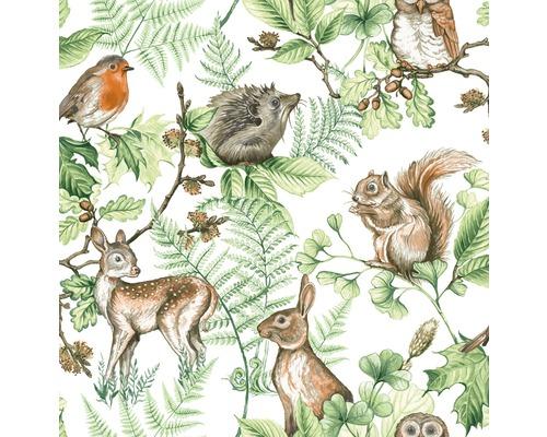 Tapet SUPERFRESCO EASY Kids at Home woodland animals grön vit 108569