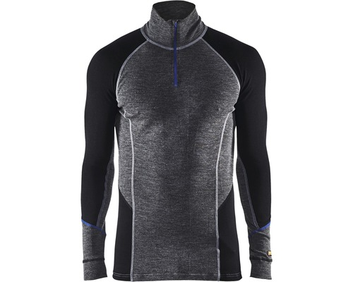 Underställ BLÅKLÄDER tröja zip warm merinoull grå/svart M