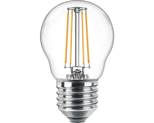Ljuskälla PHILIPS LED classic dimbar P45 klar E27/4,5W(40W) 470lm 2200K + 2700K