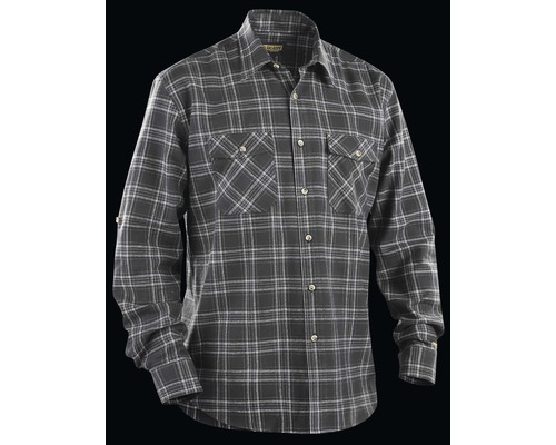 Flanellskjorta BLÅKLÄDER mörkgrå/grå L