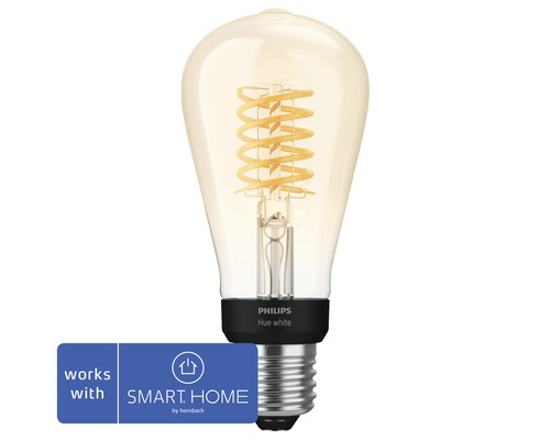 Ljuskälla PHILIPS Hue filament White ST64 E27 7W 550lm 2100K ST64 dimbar - kompatibel med SMART HOME by hornbach