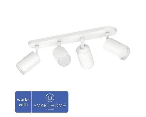 Spotlight PHILIPS Hue Fugato LED White & Color Ambiance 4-lågig 4x6,5W 4x350lm dimbar RGB-färgväxlare varmvitt-dagljusvitt vit B 195mm - kompatibel med SMART HOME by hornbach