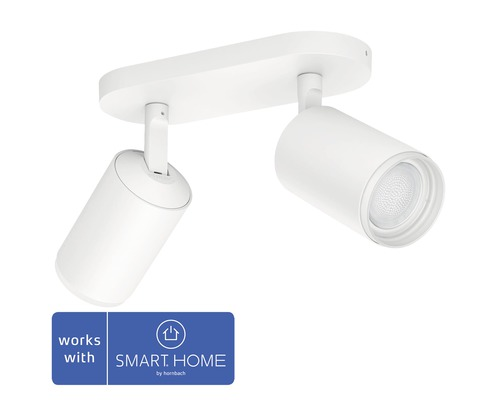 Spotlight PHILIPS Hue Fugato LED White & Color Ambiance 2-lågig 2x6,5W 2x350lm dimbar RGB-färgväxlare varmvitt-dagljusvitt vit H 195mm - kompatibel med SMART HOME by hornbach