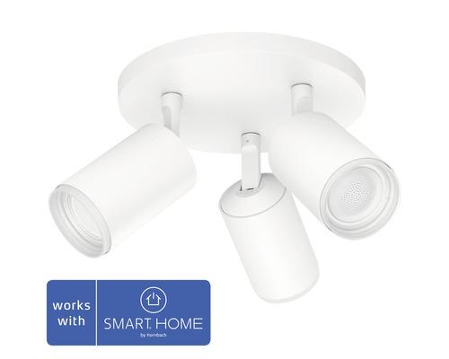 Spotlight PHILIPS Hue Fugato LED White & Color Ambiance 3-lågig 3x6,5W 3x350lm dimbar RGB-färgväxlare varmvitt-dagljusvitt vit B 195mm - kompatibel med SMART HOME by hornbach