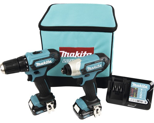 Verktygspaket MAKITA CLX224A 12V 2 maskiner med 2 st 2,0Ah batterier+laddare i MAKPAC