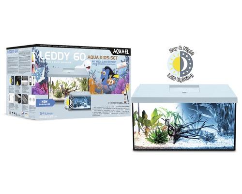 Akvarium AQUAEL Leddy Kids Starter Set 60 inkl. LED-belysning, filter, värmare, håv, doppvärmare, dekorationsfigurer ljusblå