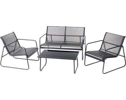 Trädgårdsmöbelset GARDEN PLACE Donau 2-sits 4 delar textilöverdrag antracit inkl. glasbord 85x50x37cm grått