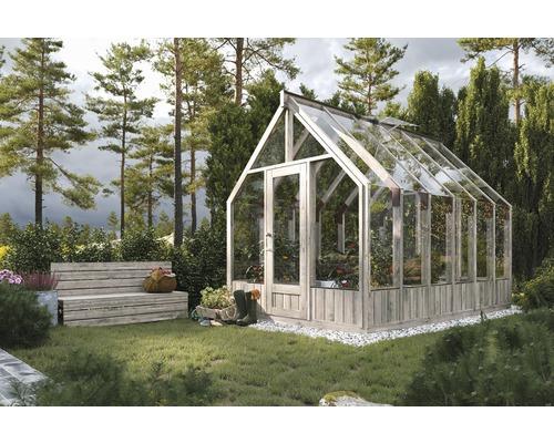 Växthus PALMAKO Emilia 8,2m² härdat glas 4mm inkl. automatiska ventilationsfönster 240x363cm trä tryckimpregnerat grått