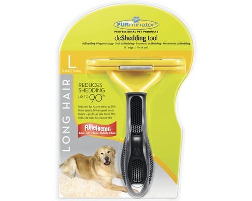 Hundkam FURMINATOR Dog Tool Long Hair L svart/gul