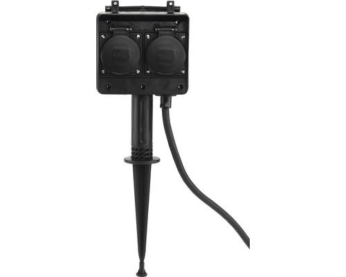 Trädgårdsuttag med jordspett 4 uttag IP44 1,5 m kabel svart till max 3680 Watt