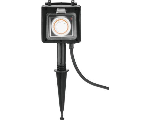 Trädgårdsuttag med timer + jordspett 2 uttag IP44 1,5 m kabel svart till max 3680 Watt